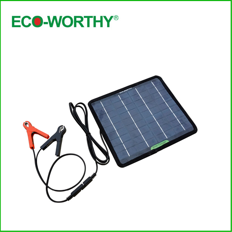 ECO-WORTHY 12 Volts 5 Watts Portable Power Solar Panel Battery Charger Backup for Car Boat Batteries portable outdoor 18v 30w portable smart solar power panel car rv boat battery bank charger universal w clip outdoor tool camping