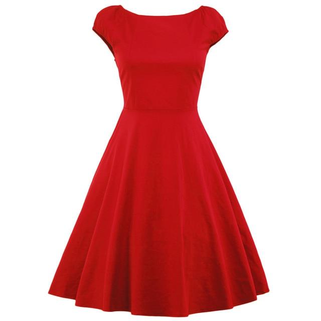 Wipalo однотонная винтажная Женская Летнее платье с круглым вырезом и короткими эластичные рукава на платье хлопок 50 s рокабилли партия платья