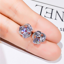 Simple 925 Silver Crystal Stud Earrings for Women Wedding Party Jewelry AAA Cubic Zirconia Female Round Earring Bijoux недорого