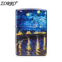 Zorro cigarette lighter Pure Copper Grinding Wheel Type Star Night on Rona River painting as gift for Friends