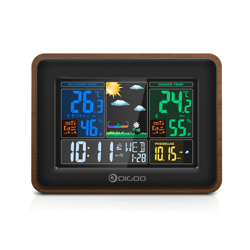 Digoo DG-TH8878 Wood USB Charge Wireless Weather Station Full-Color Screen Digital Humidity Thermometer Outdoor Sensor Clock