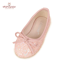 Children sneakers trend princess dancing single sneakers for ladies Kids Bow tie Wedding occasion single Performance Shoes for Girls S70