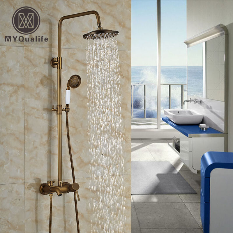 Single Handle Wall Mount European Shower Faucet Tub Shower Mixer Tap with Handheld Shower Antique Brass Finished