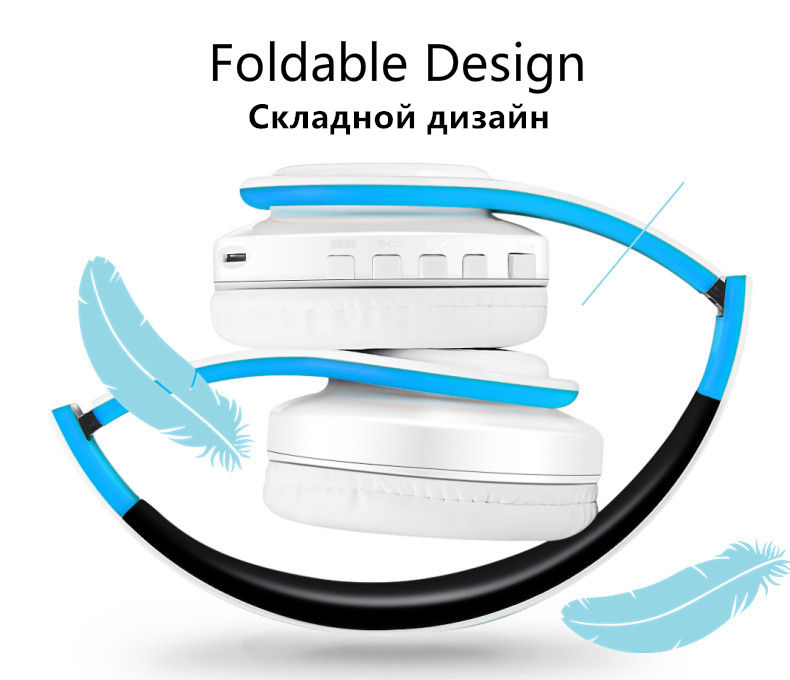 Foto of design Wireless foldable headphones with mic. Foldable wireless earphones for mp3