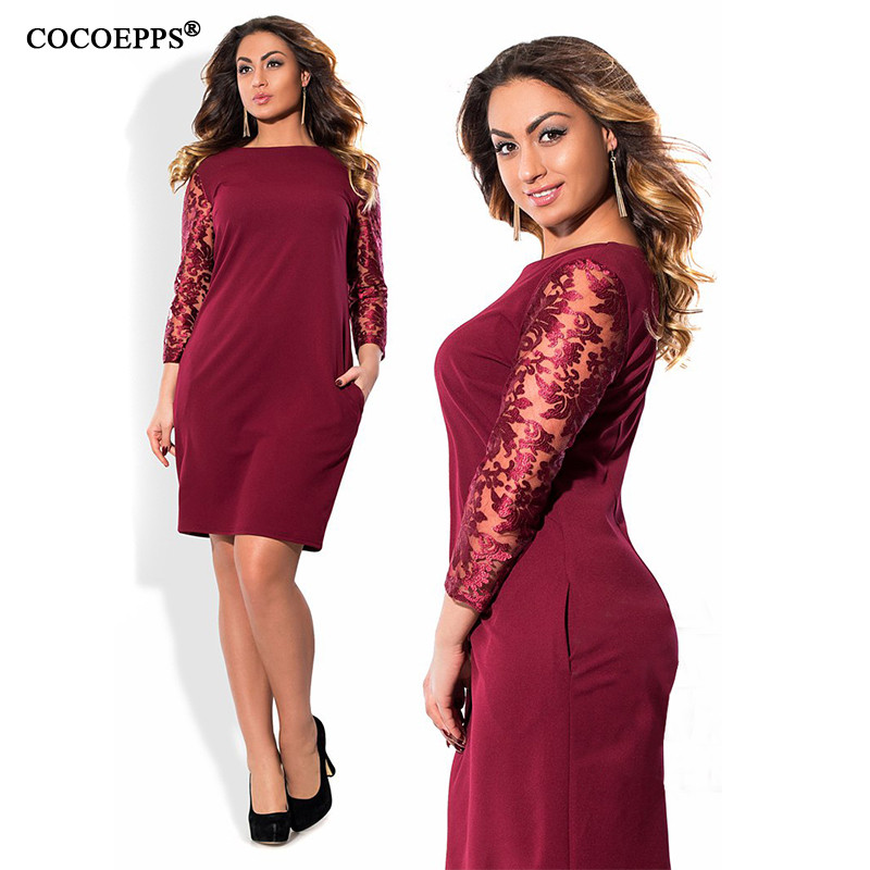 03a5214bb40f9 ICHOIX Long sleeve Lace Autumn Dress big size 2018 new women Winter Plus  Size office dress