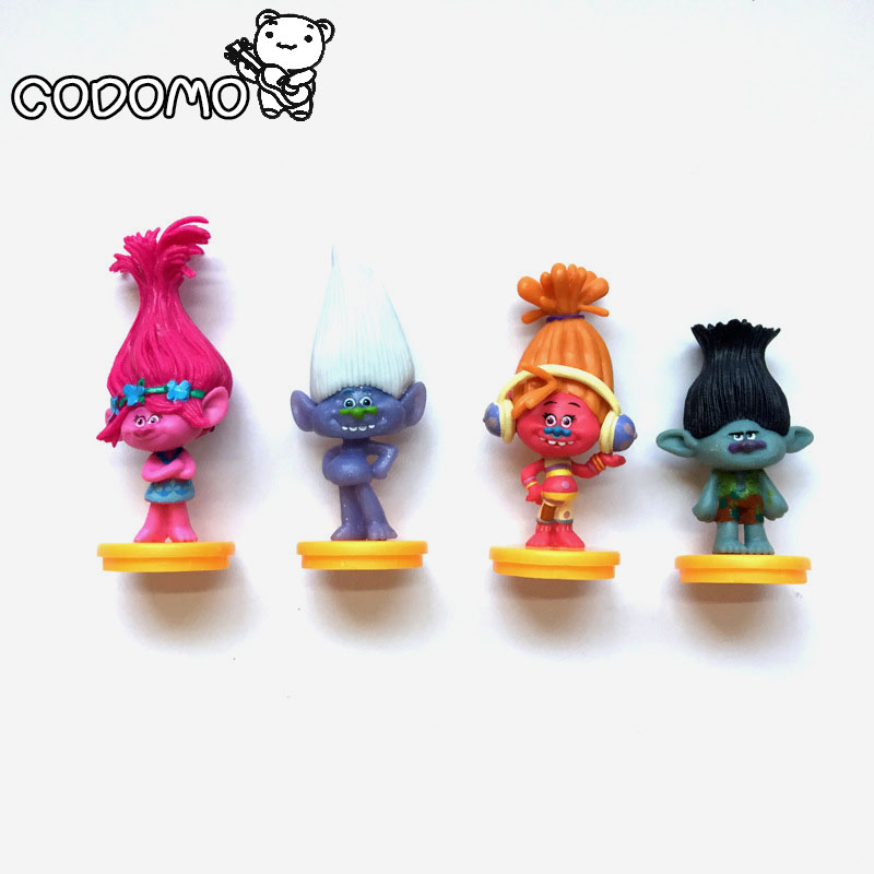 4pieces/set High Vinyl Glue Amine Action Figure Toys Troll Doll Poppy Branch Toys for Kids Birthday & Childrens` Day Lucky Gifts
