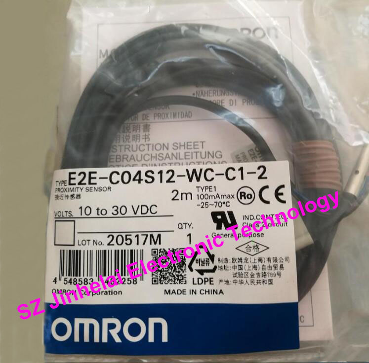 100% New and original OMRON Proximity switch, Proximity sensor E2E-C04S12-WC-C1-2   2M [zob] new original omron shanghai omron proximity switch e2e x18me1 2m 2pcs lot