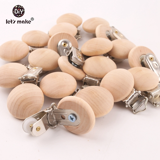 Let's Make 20pcs Pacifier Clip Making Wooden Soother Clip Nursing Accessories Diy Dummy Clip Chains Wooden Baby Teether 29*45mm