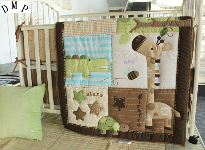 Promotion! 6PCS Baby Sets Crib Bedding Quilt Set Baby Children Children's Bed Quilt Linen,include(bumper+duvet+bed cover) promotion 4pcs baby bedding set crib set bed kit applique quilt bumper fitted sheet skirt bumper duvet bed cover bed skirt