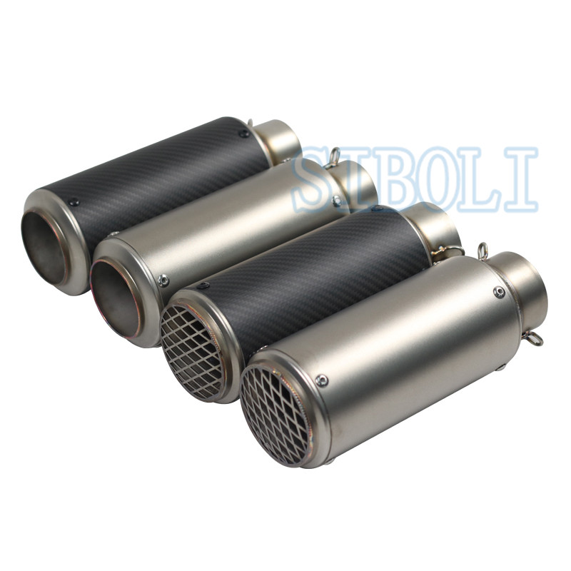 Motorcycle Exhaust Pipe Muffler Inlet 51mm 61mm GP Escape Exhaust Muffler Carbon Fiber Exhaust Pipe With Sticker SC018