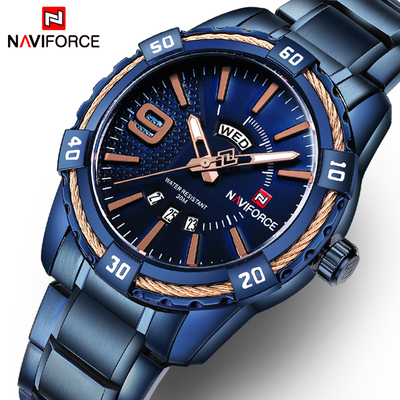 NAVIFORCE Fashion Casual Brand Waterproof Quartz Watch Men Military Stainless Steel Sports Watches Man Clock Relogio Masculino 2018 new fashion casual naviforce brand waterproof quartz watch men military leather sports watches man clock relogio masculino