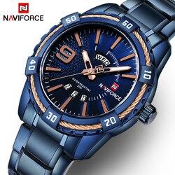 Naviforce moda casual marca à prova dwaterproof água relógio de quartzo masculino militar aço inoxidável esportes relógios homem relógio relogio masculino