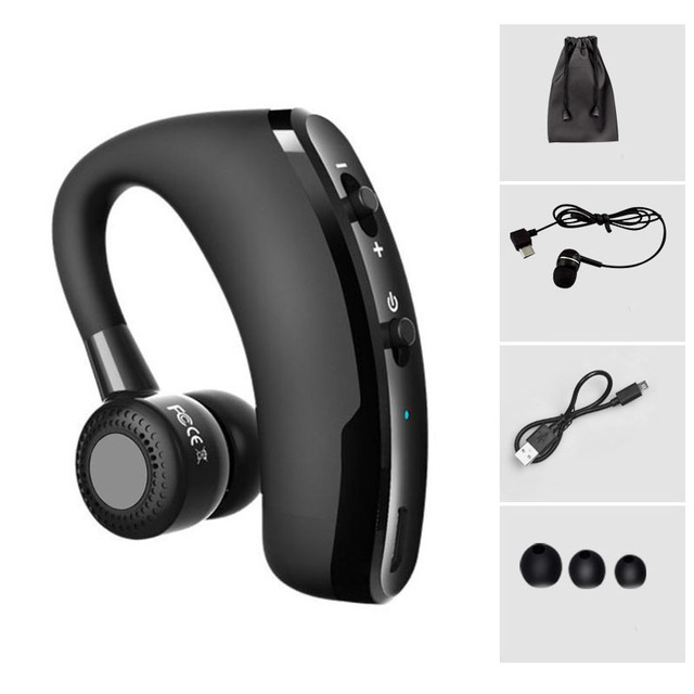 Yulubu V9 Handsfree Business Bluetooth Headphone With Mic Voice Control Wireless  Bluetooth Headset For Drive Noise Cancelling 9250e9d815