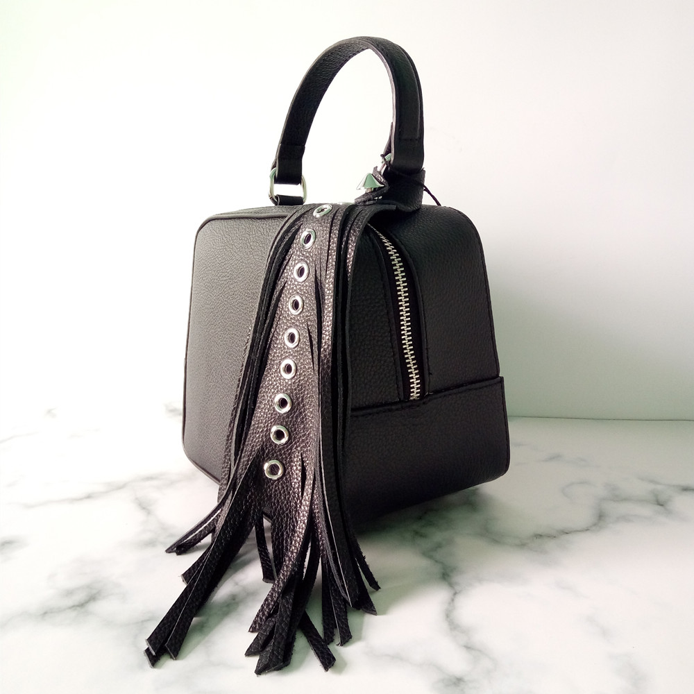 12e7723dde 2018 novelty small genuine leather box shape crossbody bag for women unique  design real cow leather tassel one shoulder bag -in Shoulder Bags from  Luggage ...