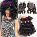 Brazilian Curly Virgin Hair With Closure Aunty Fumi Bouncy Curls Brazilian Bundles With Lace Closure Short Bob Weave Spiral Curl