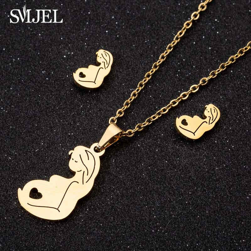 SMJEL Stainless Steel Mom Baby Necklaces Set Love Mum Mothers Necklace Earring For Children Kids Jewelry 2019 Dropshipping