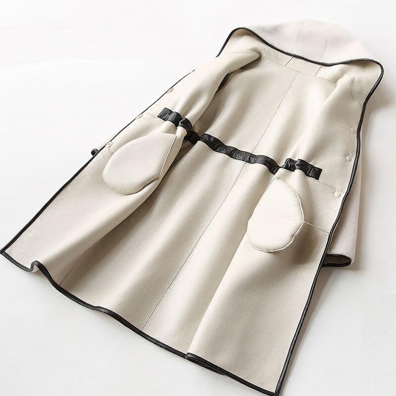 De Hiver 2018 La Veste Laine Vêtements Manteau Automne Femme black Pu army pink Taille Véritable Fourrure Plus Green Zt925 caramel Vintage Femmes Doublure White Coréen qwdYCF