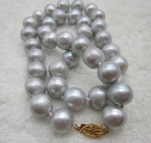 11 12 мм souh моря Серый природных жемчужное ожерелье 18 желтый застежка!