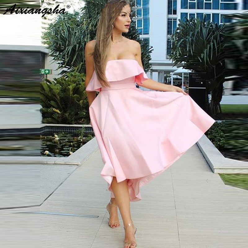 New High Low Pink Satin 2019   Bridesmaid     Dress   with Bowknot A-Line Strapless Boho Country Wedding Guest Party   Dress   Short Gowns