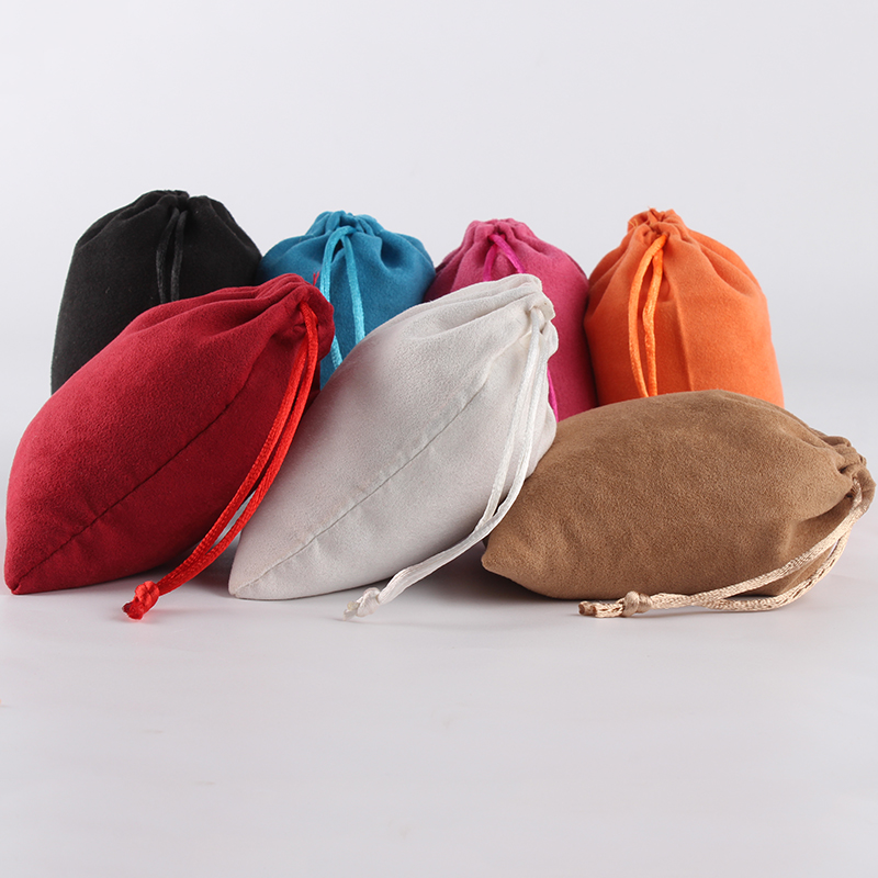 10pcs/lot 10*12cm Custom Logo Printed Suede Drawstring Pouch Mixed Color Wholesale Price Packing  Jewelry Pouch Bag