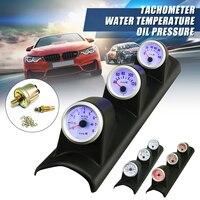 3in1 2 (52mm) DC12V Car Led Tachometers Gauge+Water Temperature Gauge+Oil Pressure Gauge Universal Auto Professional Gauges
