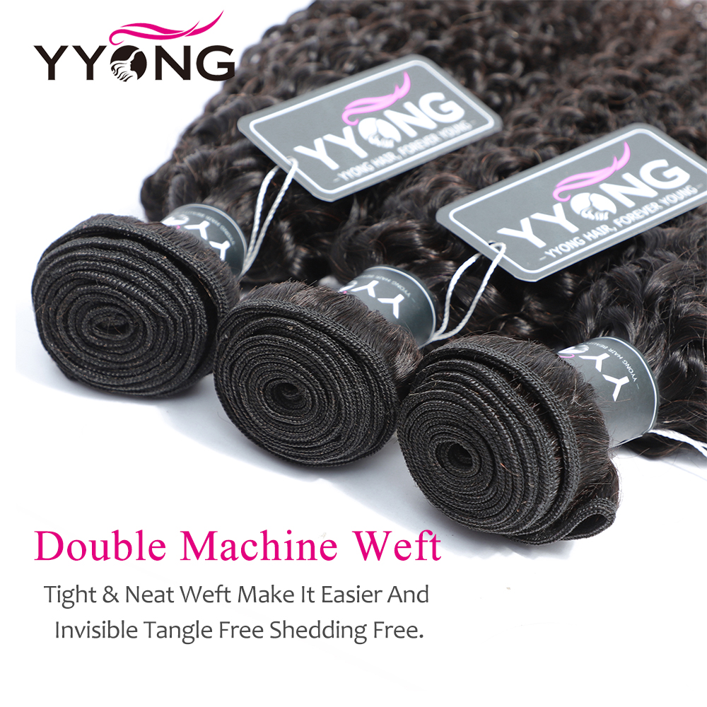 Yyong Hair  Kinky Curly Hair 4 Bundles Deals 100%   Bundles Natural Color  Hair 100g/Bundle 3