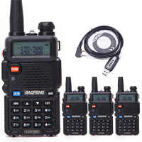 4 個 baofeng UV-5R トランシーバー 5 ワット 128CH デュアルバンド VHF & UHF 136-174 & 400- 520 Mhz の 2 ウェイラジオ UV5R 狩猟アマチュア無線 UV 5R & ケーブル