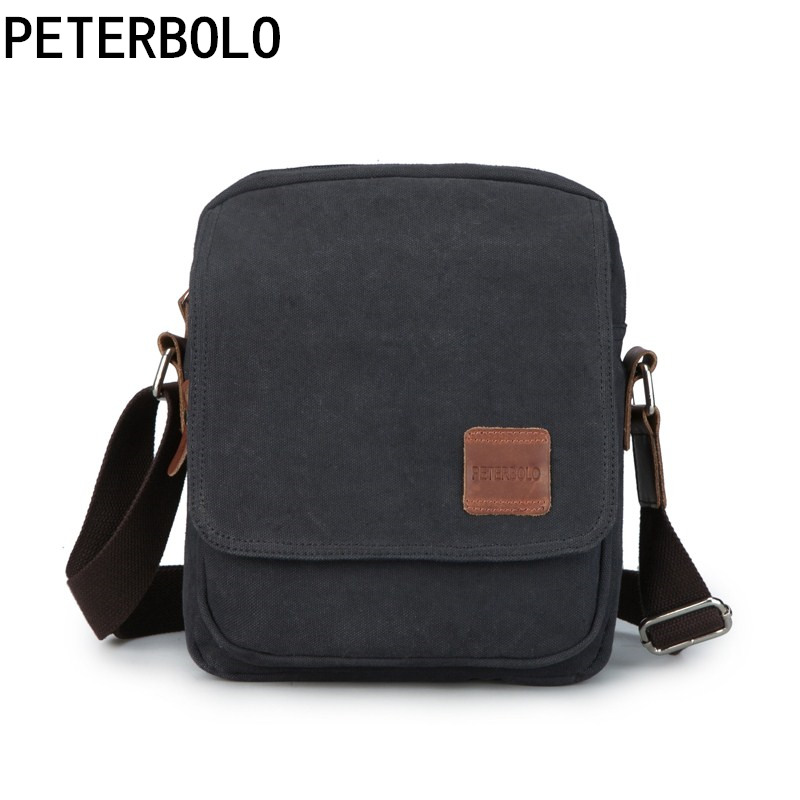 Peterbolo Peterbolo High Quality Canvas Men Shoulder Bag Casual Small Men Crossbody Bag Vintage Travel Bag high quality casual men bag