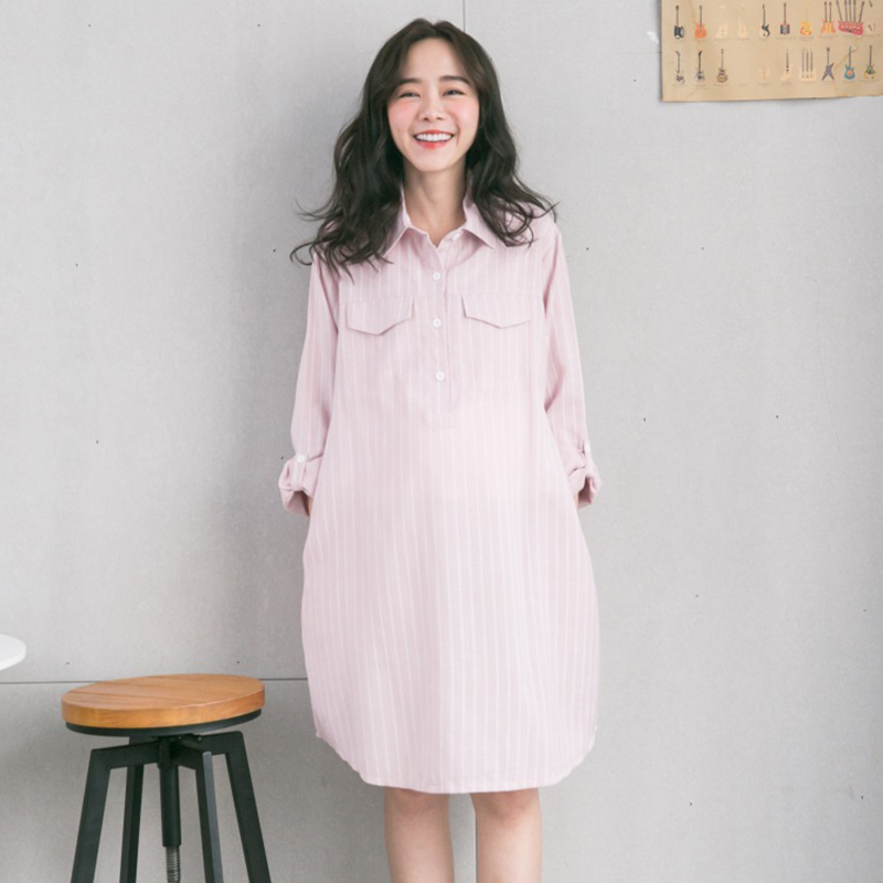 Maternity Knee length Cotton Blouse Breastfeeding Dress