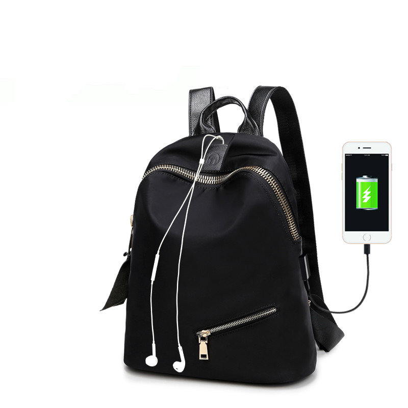 027f56afbc Oxford cloth shoulder bag female Korean version of the wild college wind  nylon bag simple fashion wave travel female backpack-in Backpacks from  Luggage ...
