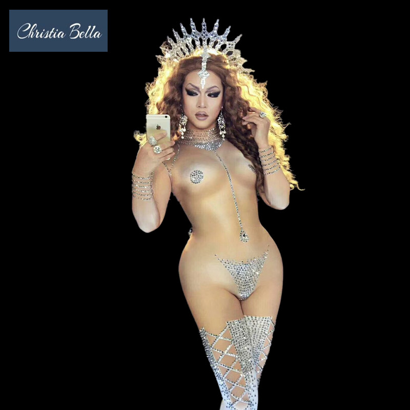Christia Bella Shining Silver Rhinestones   Jumpsuit   Women Nude Skin Bodysuit Club DJ DS Performance Costumes Singer Dancer Wear