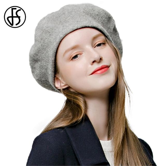 FS Invierno cálido Mujer Boina 100% boinas de lana Retro de moda Gorra de  fieltro 47b4a066ba1