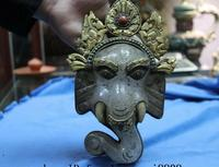 Tibetan Old Copper Gold Gilt Inlay Turquoise Coral Crystal Elephant Head Statue