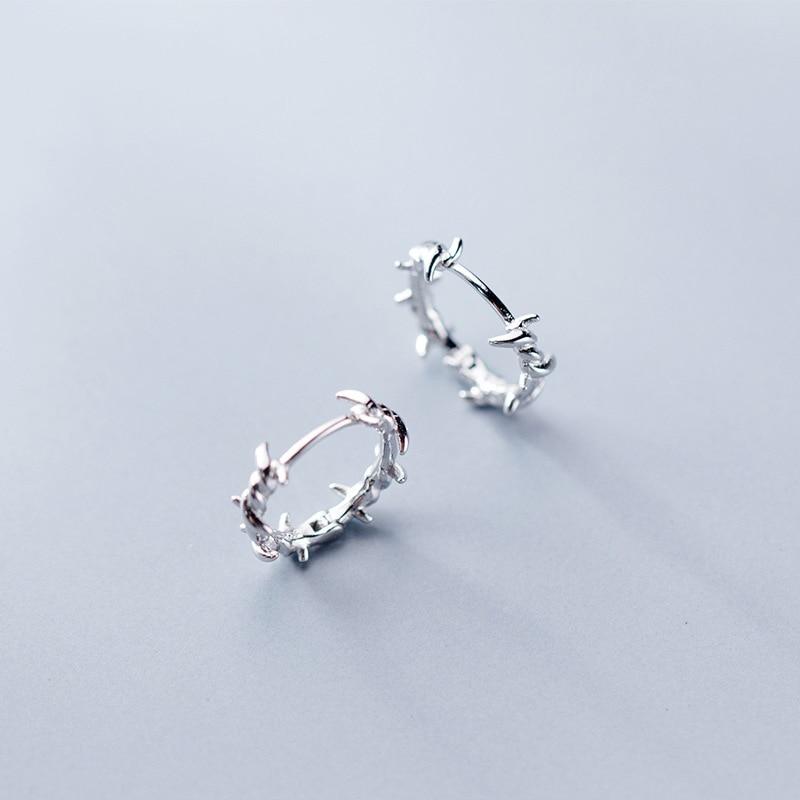 15e48c971bb8ff Trusta 1Pair 925 Sterling Silver Hoop Earring Barbed Wire Ear Cuff Clip On  S925 Earrings Gift For Women Girl Teen Jewelry DS1410-in Hoop Earrings from  ...