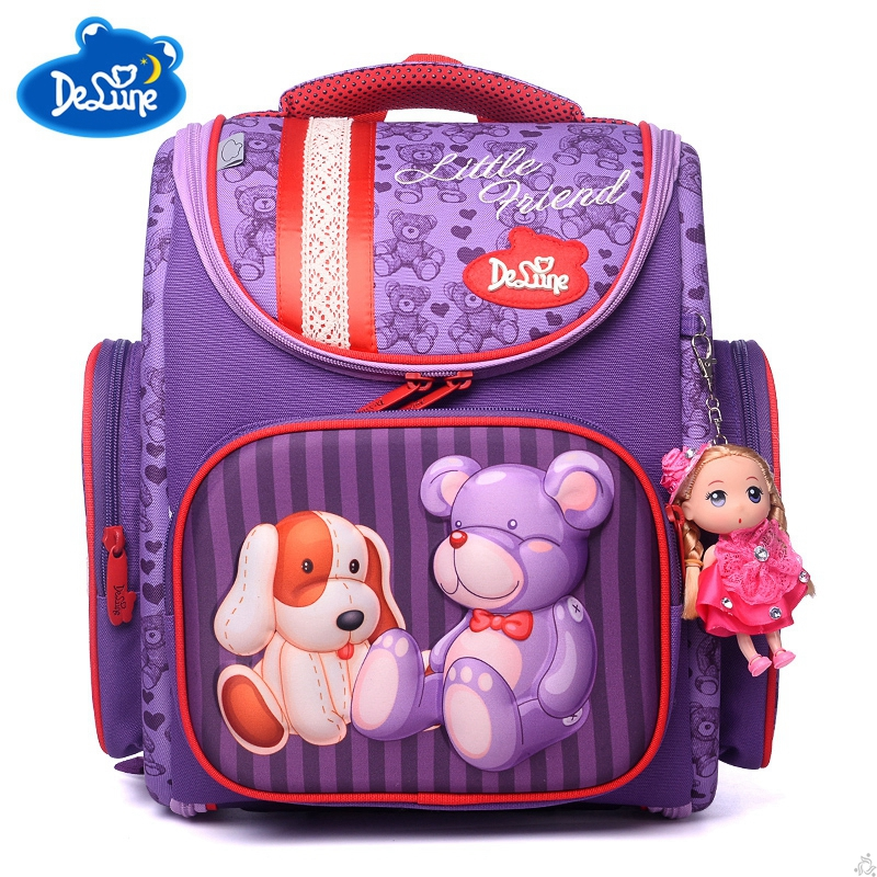 Children Delune School Bag Large Capacity Schoolbag Backpack Orthopedic Bear Dog Print Embossed Girls Backpack 1-5 Class Student ...