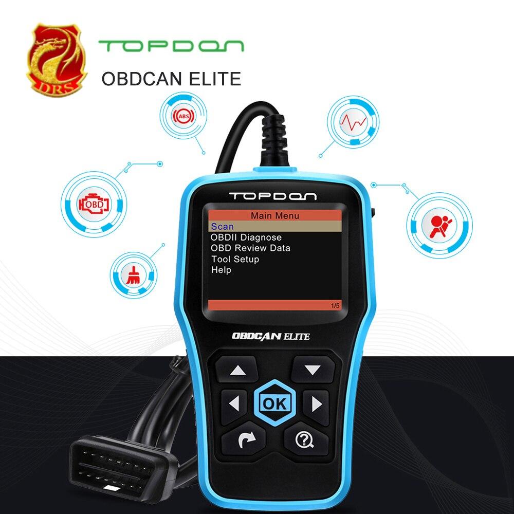 Ultrascan TOPDON OBDCAN ELITE Ferramenta de Diagnóstico EOBD OBD ABS SRS Scanner de Leitor de Código de Auto Scan Tool OBD2 como Lançamento cr6011 ML619