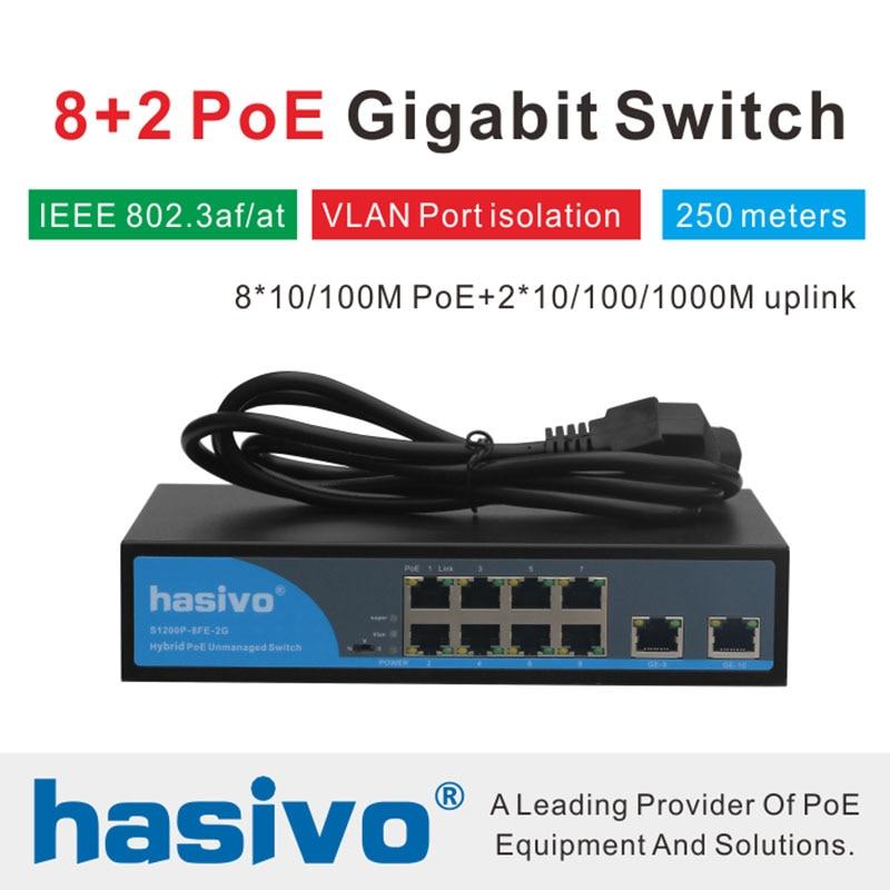 8 Ports RJ45 Ethernet PoE commutateur 2 liaison montante Gigabit commutateur 150 W
