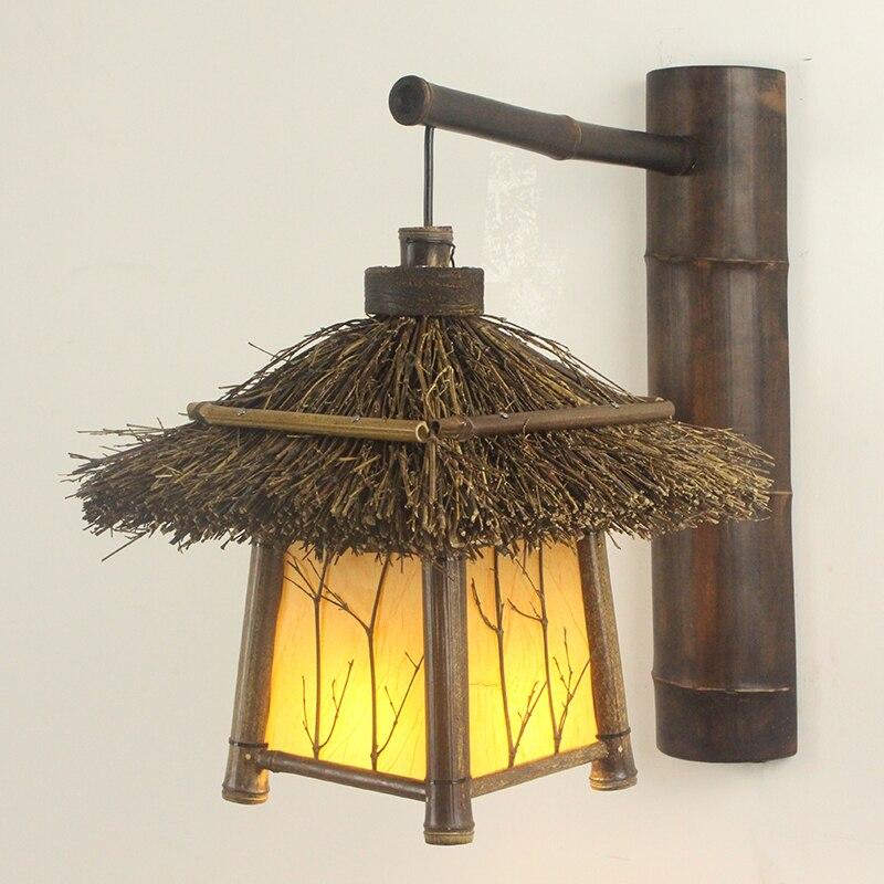 Настенный светильник, для балкона, прохода, чайной комнаты, коридора, ретро, пасторальный, бамбуковый, японский