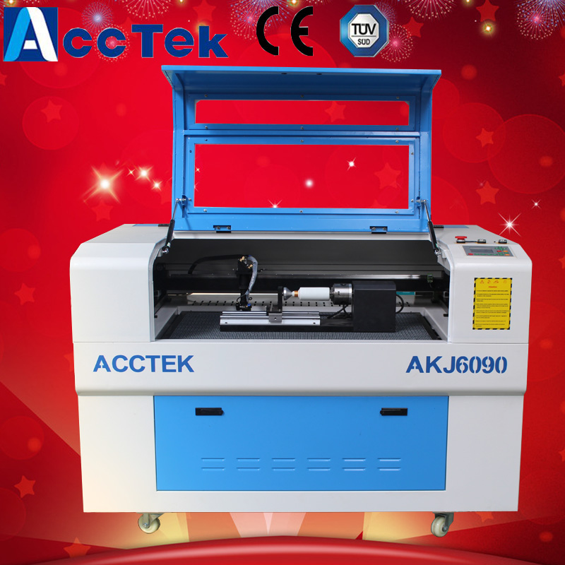 china cnc laser cutter kit mdf glass bottle 3d rotary engraving machine laser wood AKJ6090 stainless steel axle sleeve china shen zhen city cnc machine manufacture
