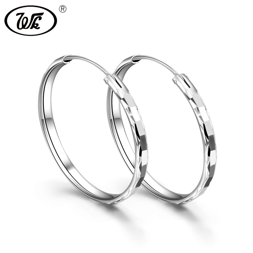 WK Anti Allergy 925 Sterling Silver Hoops Thick Round Earrings For Women Creole 35MM Circle Earings Oorbellen Fine Jewelry ED007