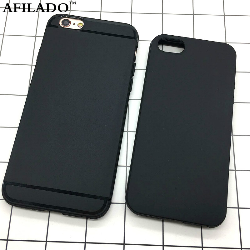 Fashion Simple Black White Matte Soft TPU Slim Back Cover for Apple IPhone 6 6s 5 5s SE Phone Cases Silicone Shell Skin Capa