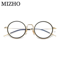 MIZHO Korea Classic Round Glasses Frame Women Brand Optical S10012 Copper Strong Transparent Clear Eyeglasses Frames