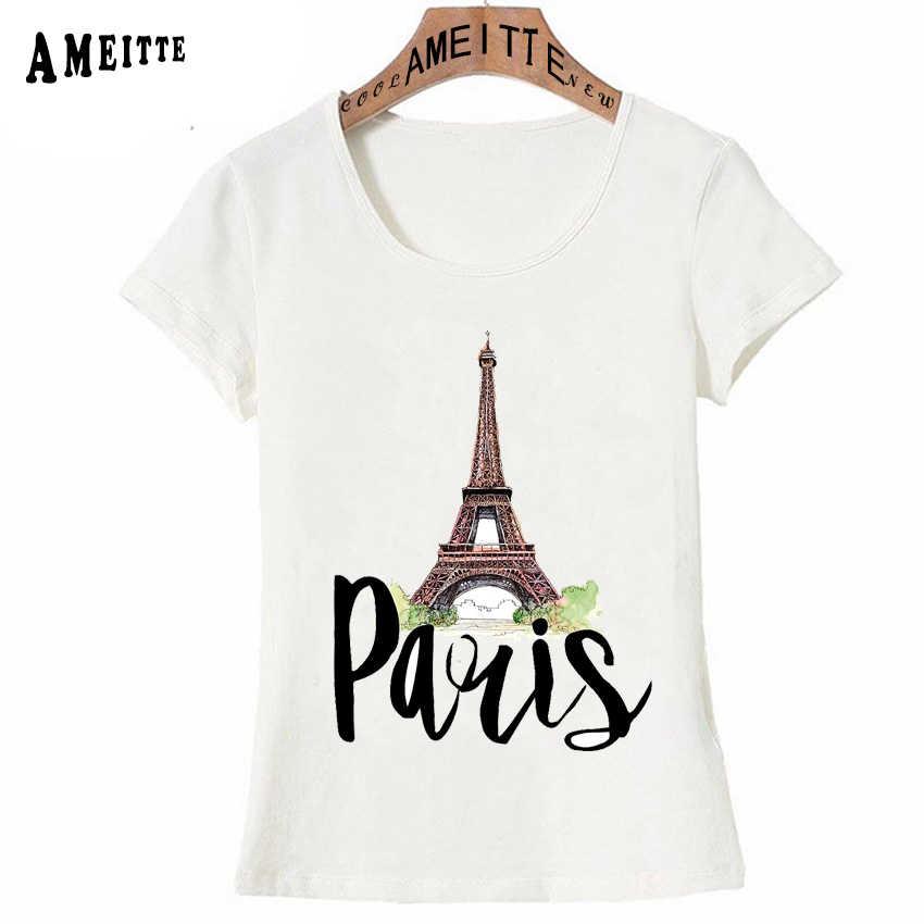 Vogue Parigino romanticismo Parigino con una bicicletta T-Shirt con Stampa di Modo di Estate Paris T-Shirt da Donna Ragazza casual Magliette e camicette Donna Magliette