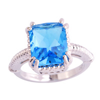 lingmei Wholesale Fashion Women Dazzling Emerald Cut Blue Topaz 925 Silver Ring Size 6 7 8  9 10 11 New Popular Party Jewelry