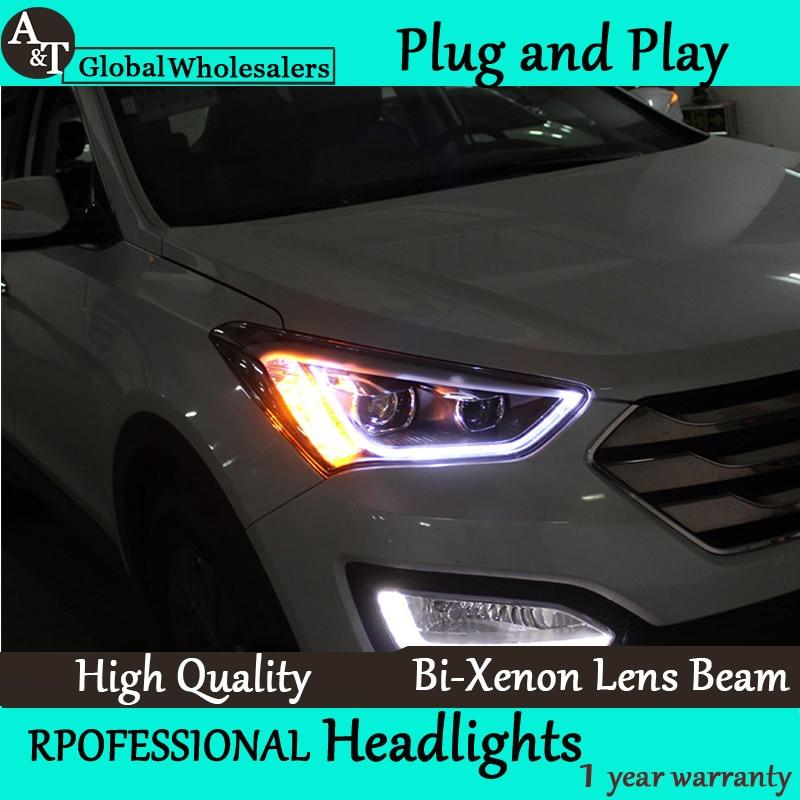 Car Styling for New Santa Fe LED Headlight 2014 IX45 Headlight assembly DRL Lens Double Beam H7 with hid kit 2 pcs. куплю диски оригинальные r18 с датчиками давления для santa fe new