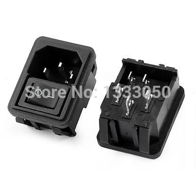 FREE SHIPPING AC 10A 250V On-Off Rocker Switch IEC320 C14 Male Plug Input Power Socket 2 Pcs yellow led on off rocker switch w terminal protector set for electric appliances 2 pcs