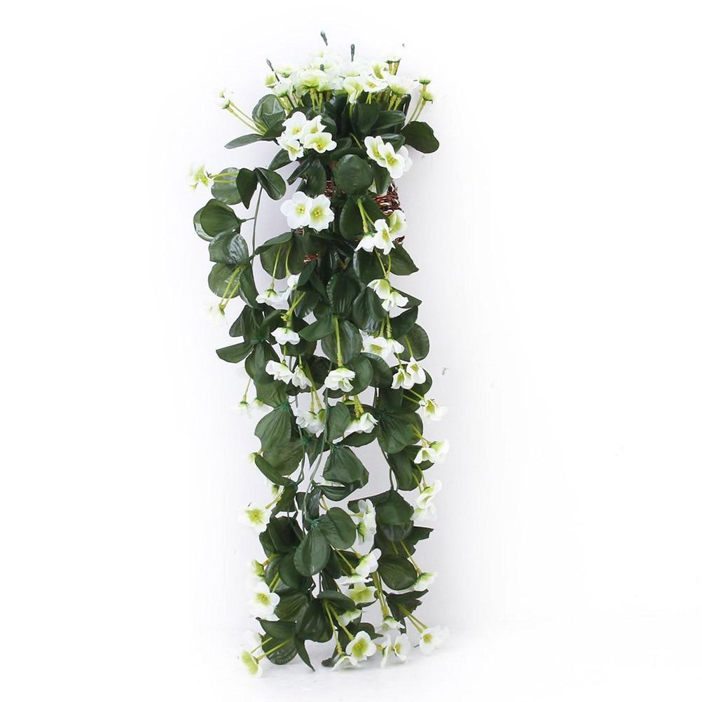 Artificial Flower Hanging Violet Garland Wedding Party Home Garden Flower Traling Decoration Flower (White)