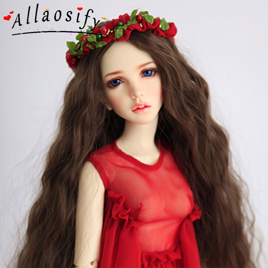 Allaosify BJD SD Giant Baby Doll Wig Long Curly Brown 1/3 1/4 1/6 1/8 Hair BJD Wigs