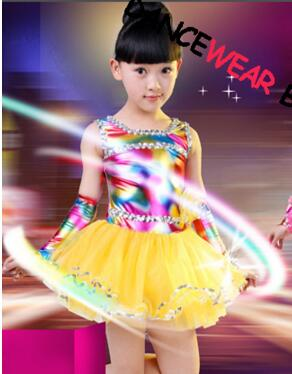 a86d9fad7919 Children Girl Yellow And Pink Stage Wear Dance Dress Neon Skirt Ballroom  Dance Dresses Kids