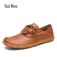 VASTWAVE Luxury Brand Men Designer Shoes Fashion Men Leather Shoes Lace Up Casual Leather Male Shoes Designer Men Flats mycolen luxury designer men shoes brand spring autumn new mens black casual shoes lace up personality fashion men shoes